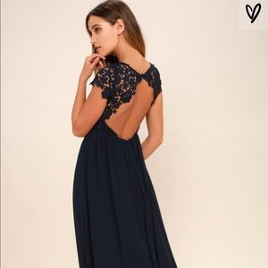 NWT Lulus - THE GREATEST NAVY BLUE LACE MAXI DRESS